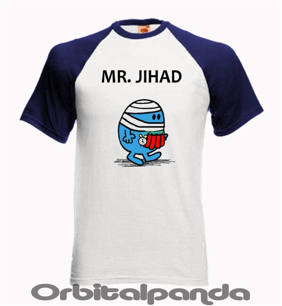 baseball t shirt ss with mr jihad funny mr men designs