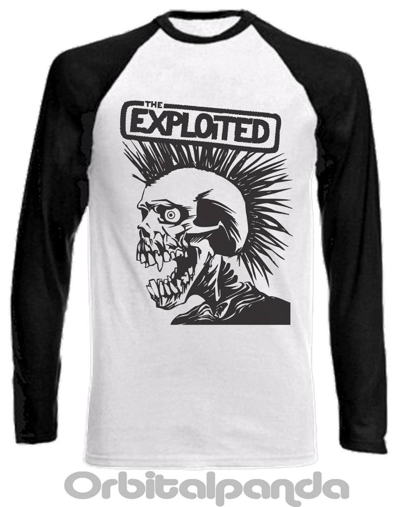 Long sleeve baseball t shirt with the exploited design for Long sleeve t shirts design