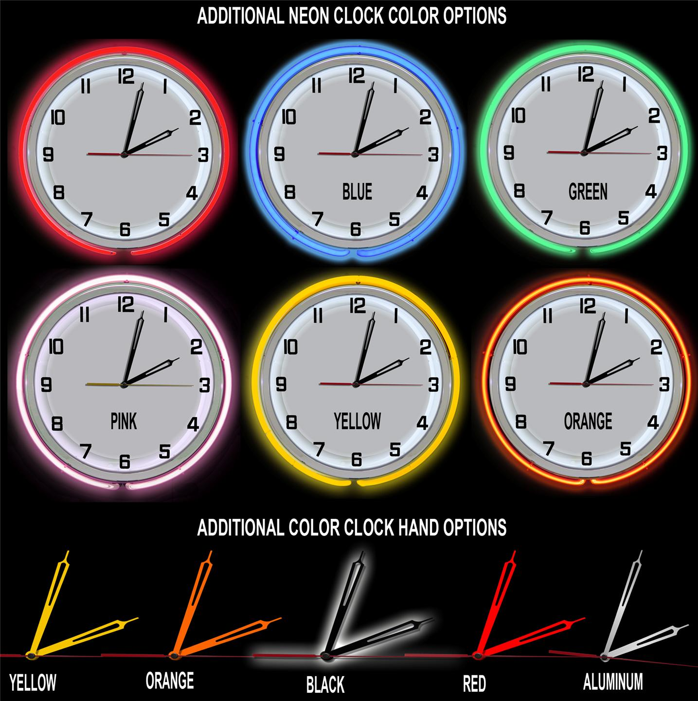 Redeye Laserworks Neon Clock Color Options