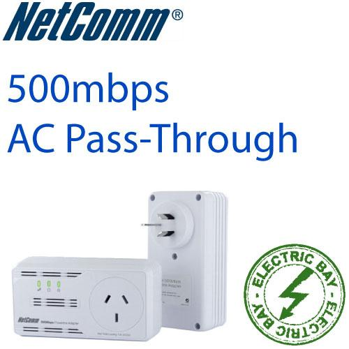 Netcomm-NP504-Powerline-Adapters-with-AC-Pass-Through-500Mbps