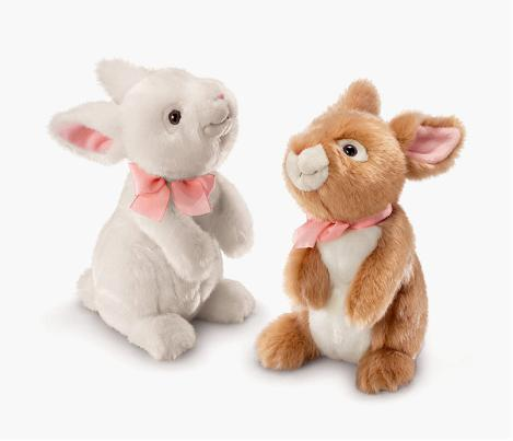 Soft-toy-Rabbits-bunny-rabbits-set-of-2-white-brown-RUSS-BERRIE-easter