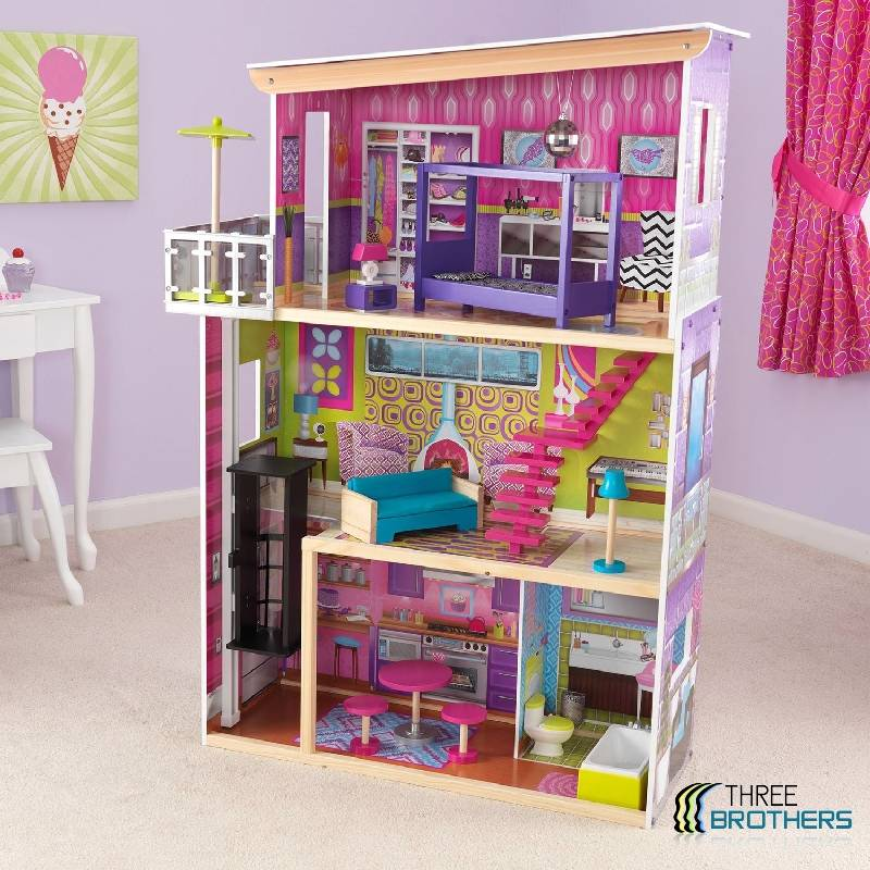 New Kidkraft 3 Story Dollhouse Wood Doll House Fits Barbie 12 Wooden Furniture