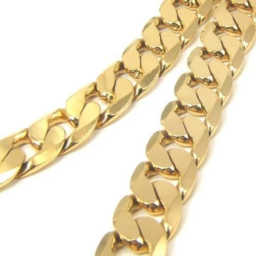 24k yellow gold filled mens necklace solid cuban curb