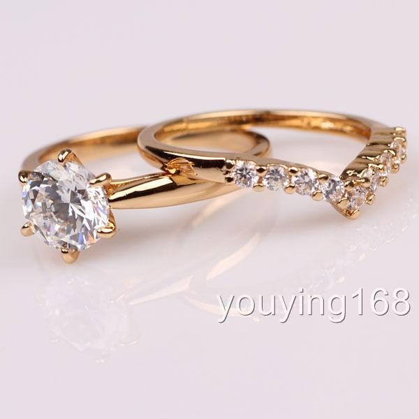 ... 18K yellow gold filled Swarovski Crystal EngagementWed ding Ring Set