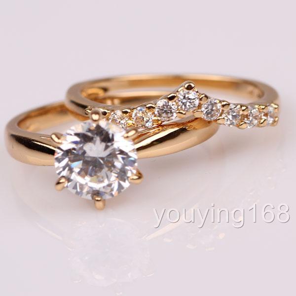 ... 18K yellow gold filled Swarovski Crystal EngagementWed ding Ring Set