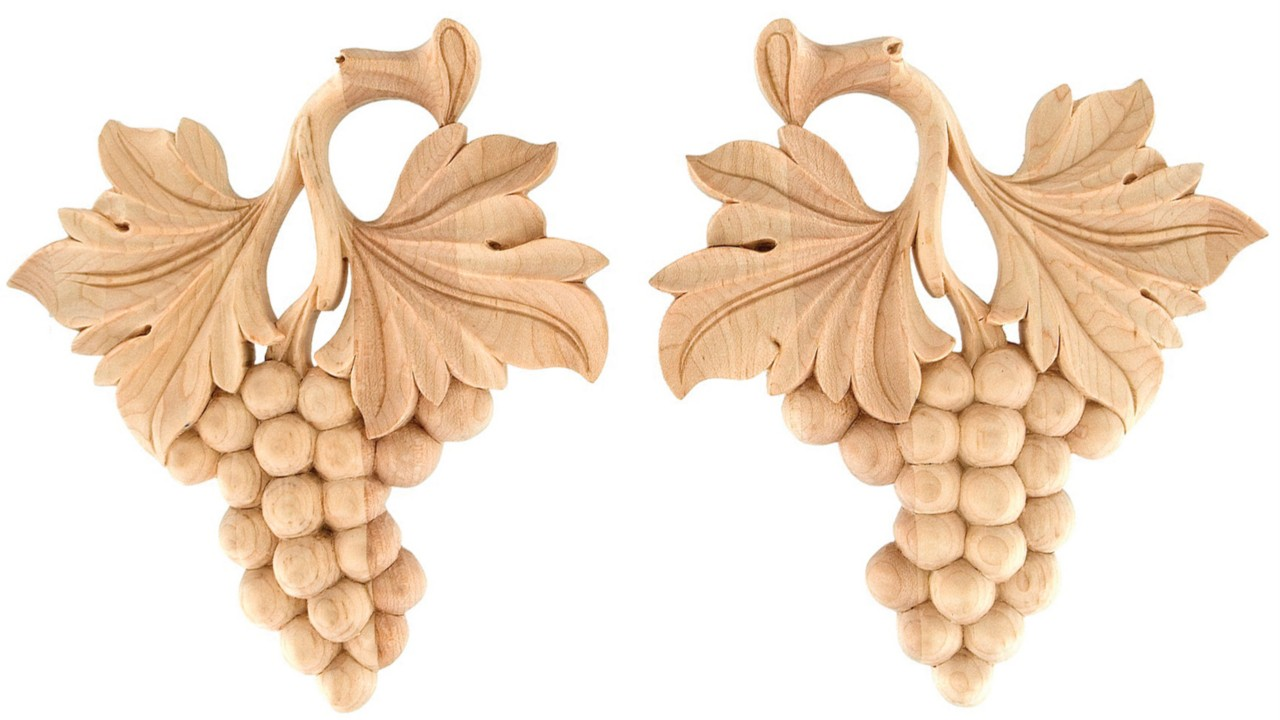 Iww quot pair of hand carved grape leaf