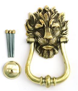Ottone solido di leone testa battente per la porta numero - Batacchio porta ...
