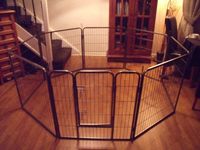 Large heavy duty dog run puppy pet play pen whelping cage for Dog run cage enclosure
