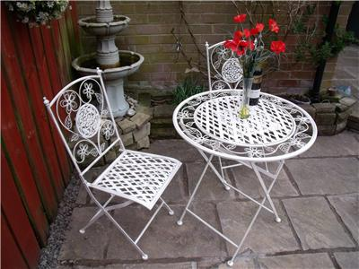 Garden furniture bistro set table and chairs patio shabby chic style white 1 ebay - Shabby chic outdoor furniture ...