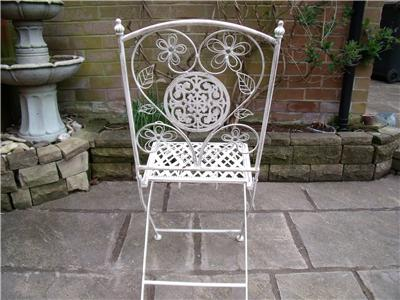 Garden furniture bistro set table and chairs patio shabby chic style white 1 ebay - Garden furniture shabby chic ...