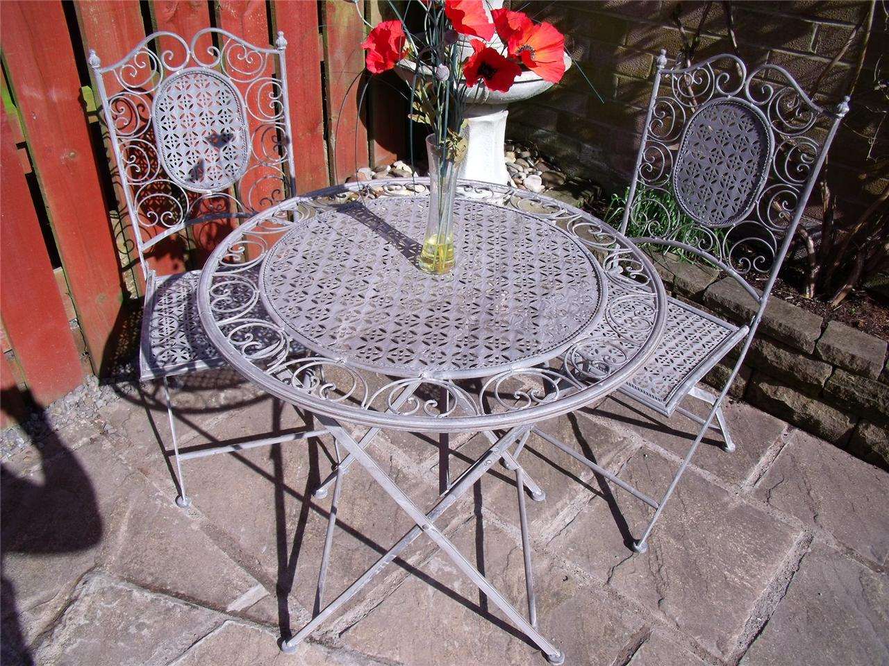 Bistro set garden furniture table and chairs shabby chic antique style grey 1 ebay - Garden furniture shabby chic ...