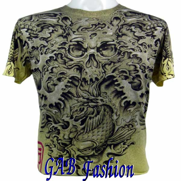 Japanese Carp Skull Bones Tattoo Art Mens T-Shirt XXL. Please wait