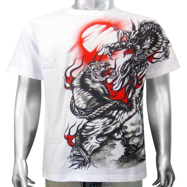 Japanese tattoo chinese dragon bengal tiger cat animal mens t shirt xl xxl ebay - Tatouage tigre japonais ...