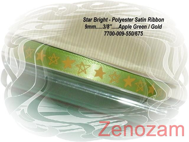 618-APPLE-GREEN-GOLD-3-METERS-9mm-3-8-STAR-BRIGHT-print-SATIN-RIBBON