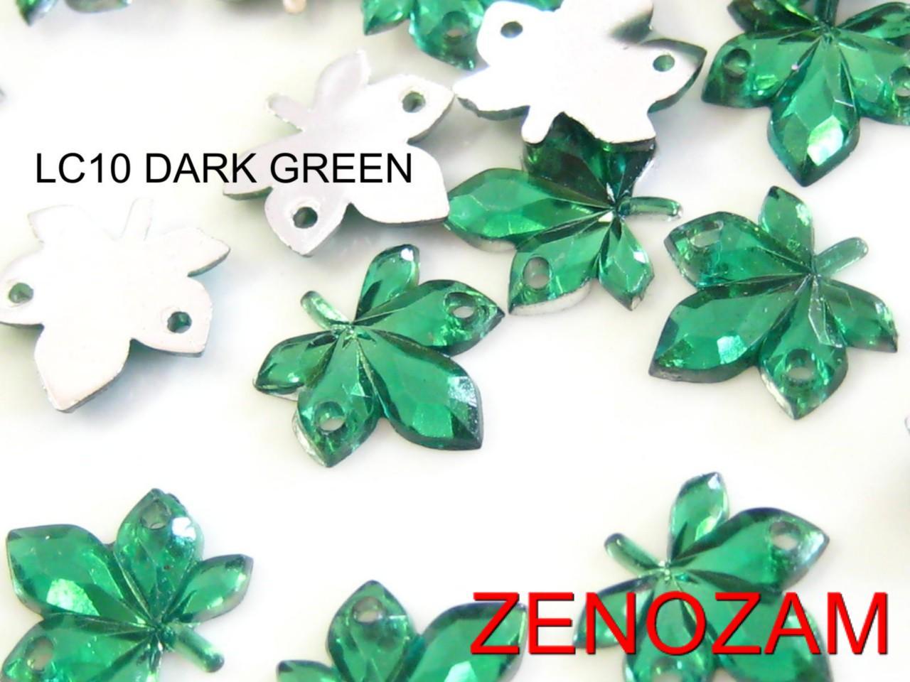 50-pcs-LEAVES-small-RHINESTONE-10x10mm-DK-GREEN-Acrylic-Jewel-Flatback-SEW-ON