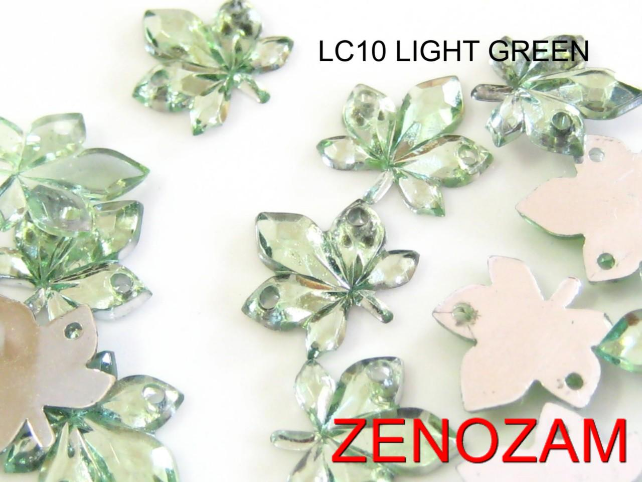 50-pcs-LEAVES-small-RHINESTONE-10x10mm-LT-GREEN-Acrylic-Jewel-Flatback-SEW-ON