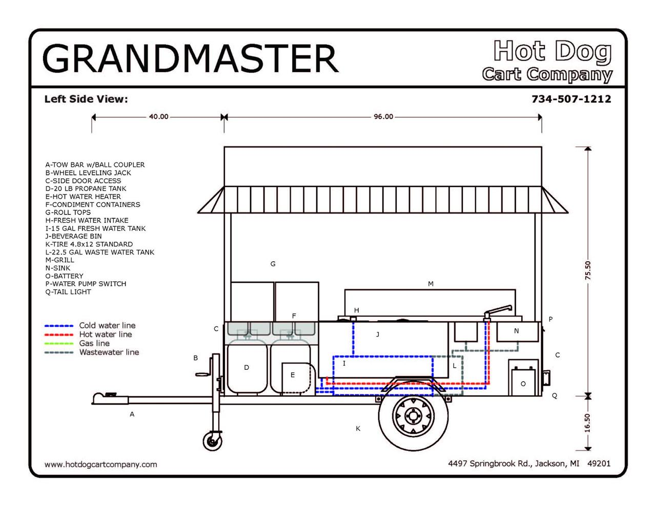 grand master hot dog cart vending concession trailer brand