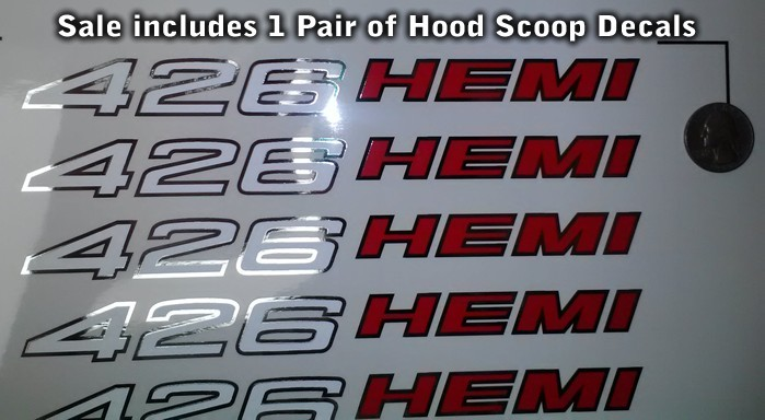 426 Hemi Hood Decals X2 Pair 1970 1971 Challenger Charger