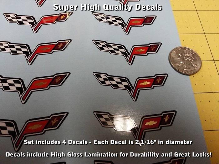 Corvette C6 Z06 Wheel Center Cap Decal Kit 5pcs Glossy