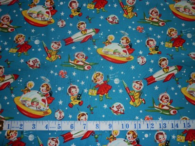 Fq rocket rascals old fashioned children space fabric ebay for Kids space fabric