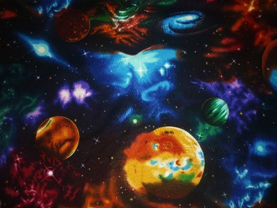 Fq space planets solar system stars fabric ebay for Planet print fabric