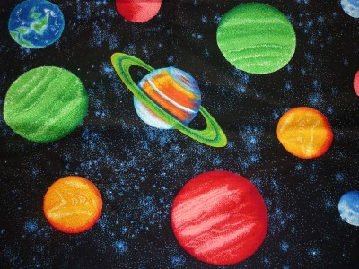 Fq space planets solar system stars universe fabric ebay for Planet print fabric