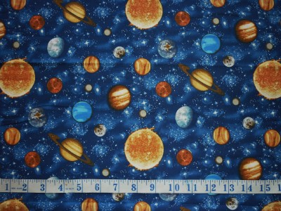Clearance fq space planets solar system stars fabric ebay for Solar system fabric