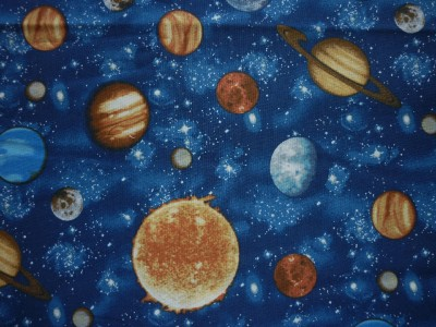 Clearance fq space planets solar system stars fabric ebay for Fabric planets solar system