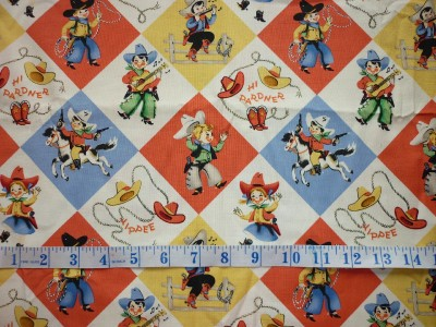 Offcut old fashioned cowboy cowgirl kids children rodeo for Kids horse fabric