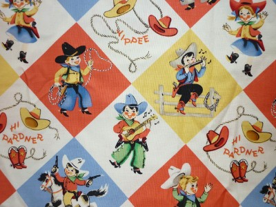 Offcut old fashioned cowboy cowgirl kids children rodeo for Horse fabric for kids