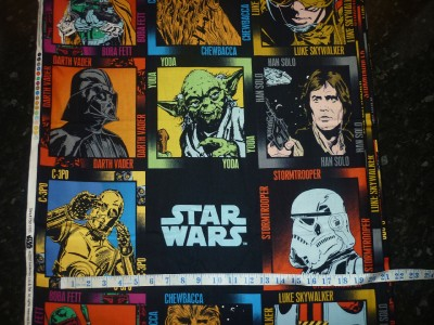 Fq star wars sci fi characters yoda space fabric retro for Retro space fabric uk