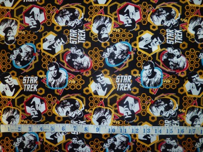 offcut star trek sci fi characters spok fabric retro space