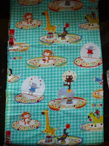 Clearance fq bright circus animals fabric children seal for Bright childrens fabric