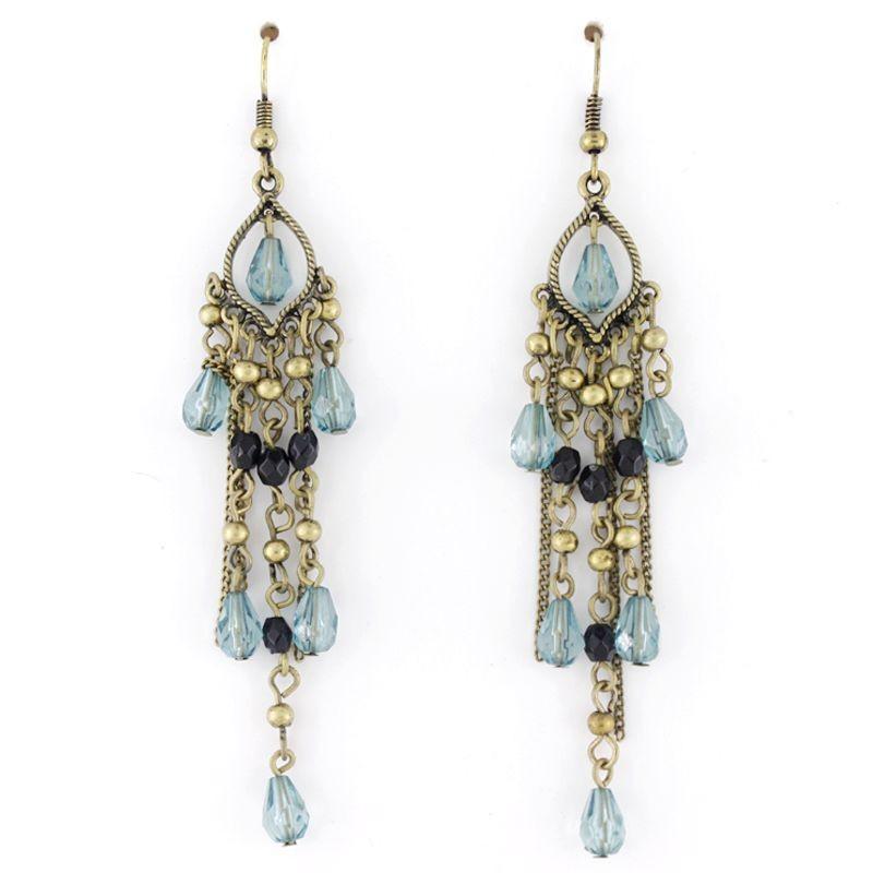 gold tone blue chandelier drop dangle earrings