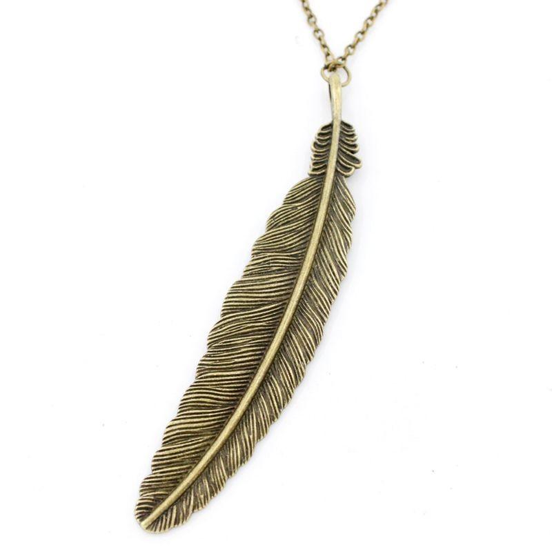 new vintage antique feather pendant necklace