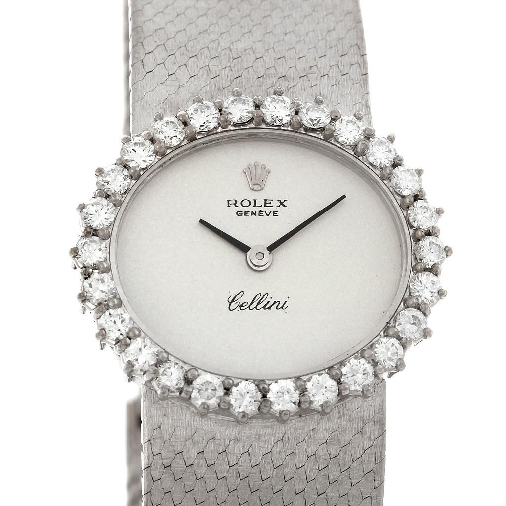 Cellini Diamond: Rolex Cellini Vintage Ladies 18k White Gold Diamond Watch