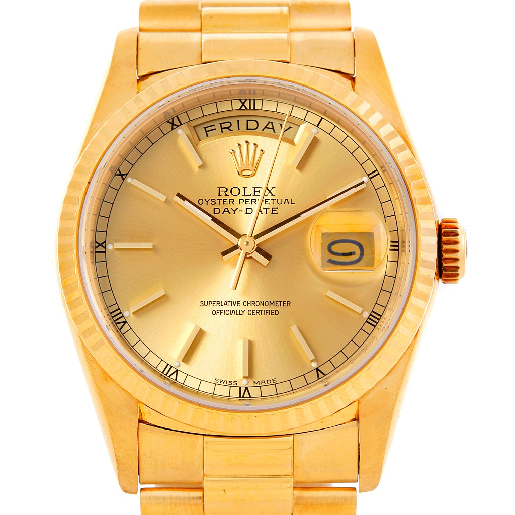 rolex president mens 18k yellow gold 18238