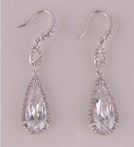 6ct CZ Cubic Zirconia Sterling Silver Dangle Earring
