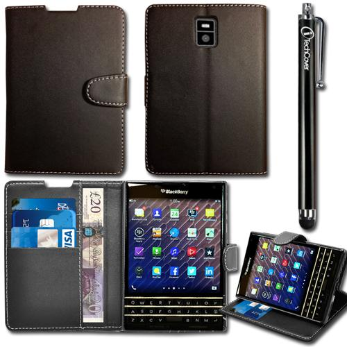 Leather Wallet Flip Case Cover Stand For BlackBerry Passport & Free Stylus Pen