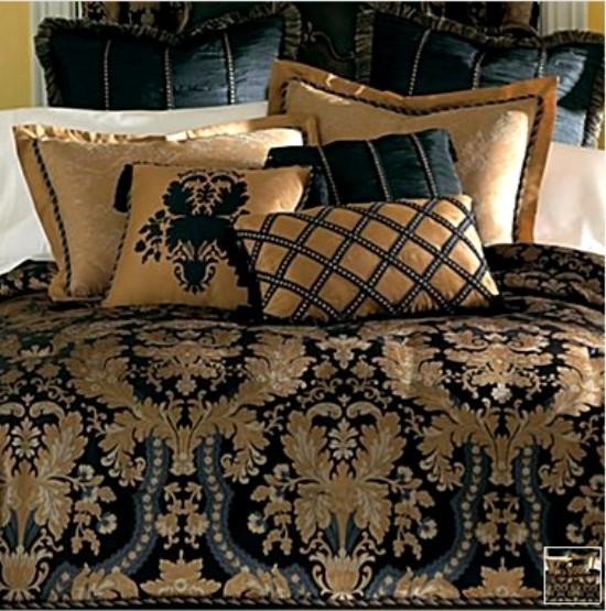 new classic royal black gold luxurious comforter set king ebay. Black Bedroom Furniture Sets. Home Design Ideas