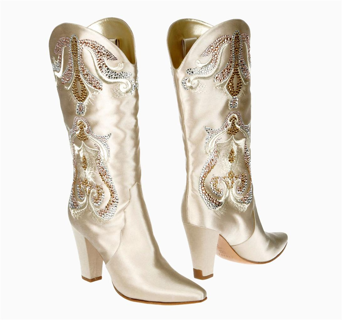 Wedding Cowgirl Boots: NEW RARE CASADEI WEDDING SATIN CRYSTALS COWBOY WESTERN