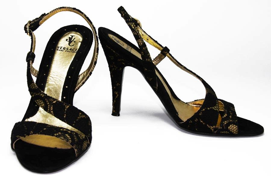 versace black lace gold slingbacks shoes it 36 us 6