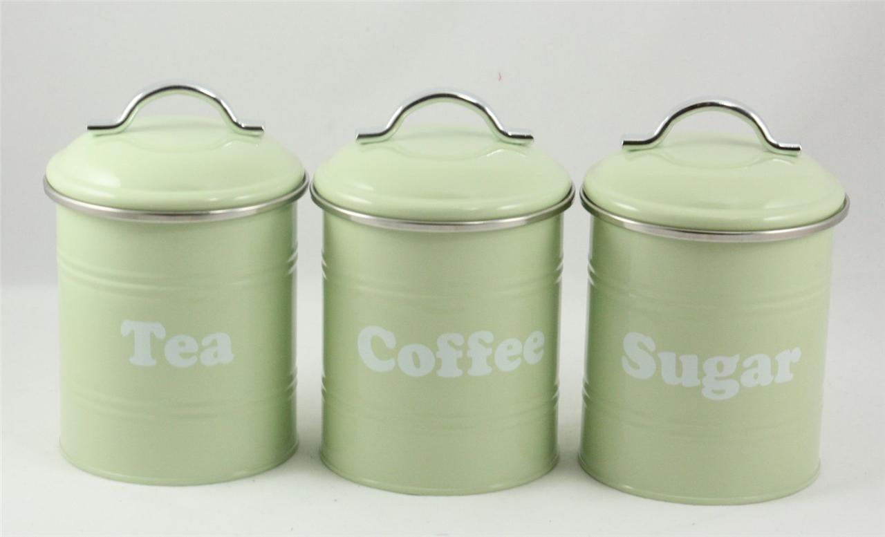 3 piece set metal retro vintage tea coffee sugar kitchen - Coffee tea and sugar canisters ...