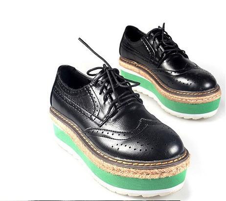 Hot-Womens-Gothic-Lace-Up-Platform-Black-Fads-Oxford-NEW-Flats-Shoes-AU-4-8