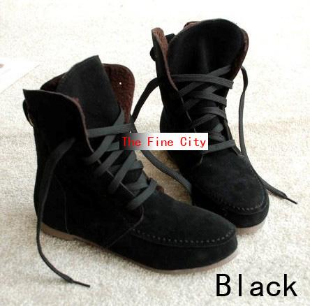 Stylish-women-shoes-classy-lace-tie-ankle-booties-synthetic-suede-flat