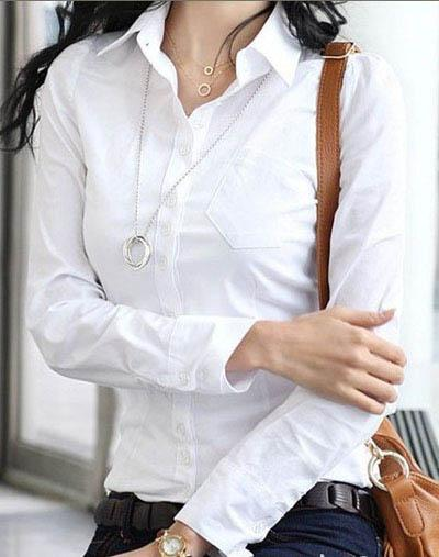 Elegant women office work formal cinched waist solid white for White cotton work shirts
