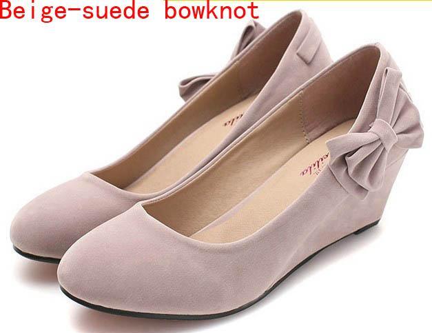Classy Solid Elegant Women Shoes Wedge Round toe Kitten Heels