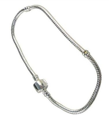 Silver-Plated-CHARM-BRACELET-23cm-fits-Bead-Charm