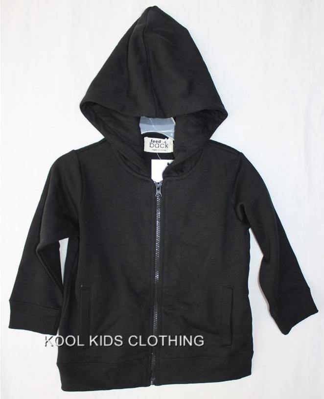 BOYS-OR-GIRLS-BLACK-FLEECE-ZIP-UP-HOODIE-JACKET-NWT-SIZES-3-6-SEE-LISTING