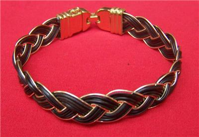 Elephant hair bracelet with gold for men - photo#13